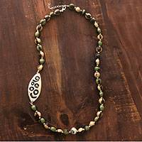Ceramic beaded necklace, 'Leaf of Life' - Ceramic beaded necklace