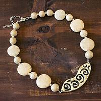 Ceramic beaded necklace, 'Azacualpa Legacy' - Ceramic beaded necklace