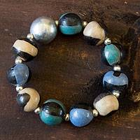 Ceramic beaded bracelet 'Azacualpa Water' - Unique Ceramic Beaded Stretch Bracelet