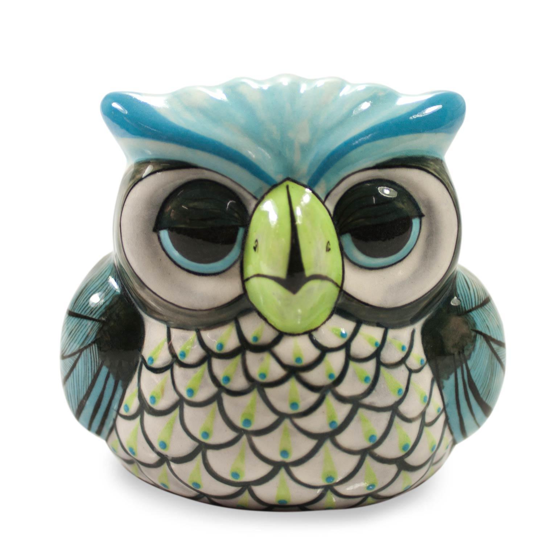 Bird Sculptures Handmade Guatemalan Ceramic Bird Sculpture  Sleepy Owl  Novica