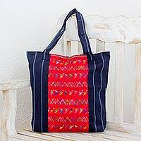 Cotton shoulder bag, 'Birds of Toliman' - Women's Animal Themed Cotton Tote Bag