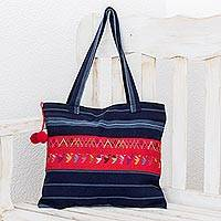 Cotton shoulder bag, 'Blue Birds of Toliman' - Handmade Central American Cotton Tote Bag