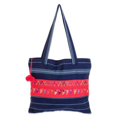 Cotton shoulder bag, 'Blue Birds of Toliman' - Handmade Central American Cotton Tote Bag