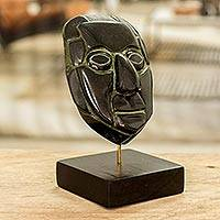 Jade mask, 'Maya Sun God' - Jade mask