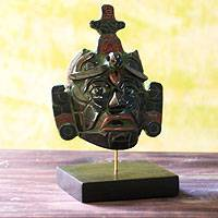 Jade mask, 'Maya King of Tikal' (large) - Classic Maya Replica Jade Mask from Tikal (Large)