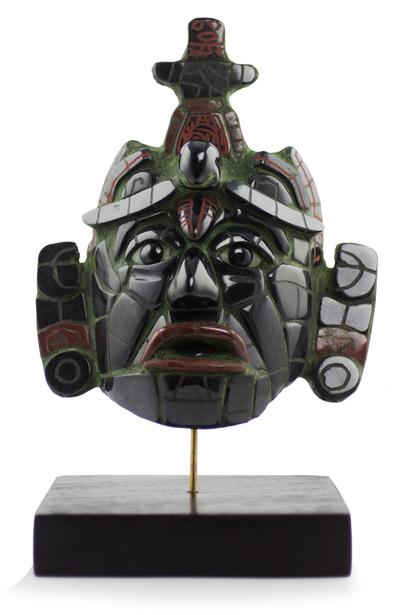 Jade mask, 'Maya King of Tikal' (large) - Classic Maya Replica Jade Mask from Tikal (Large)