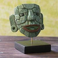 Jade mask, 'Maya Lord of El Naranjo' (large) - Unique Fair Trade Jade Mask