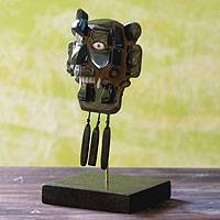 Jade mask, 'Zapotec Rain God' - Unique Archaeological Jade Mask