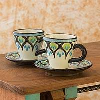 Ceramic espresso cups and saucers, 'Owl' (set for 2) - Artisan Crafted Ceramic Espresso Cups and Saucers (Pair)