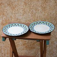 Ceramic dinner plates, 'Owl' (pair) - Artisan Crafted Ceramic Dinnerware Plates (Pair)