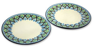 Ceramic dinner plates, 'Owl' (pair) - Artisan Crafted Ceramic Dinnerware Plates (Pair)