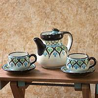 Ceramic tea set, 'Owl' (set for 2) - Handcrafted Ceramic Tea Service for Two