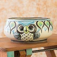 Ceramic bowl, 'Owl' - Ceramic bowl