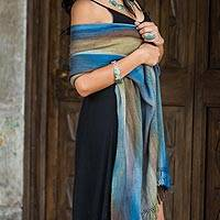 Rayon chenille shawl, 'Ocean Muse' - Handloomed Women's Rayon Chenille Patterned Shawl