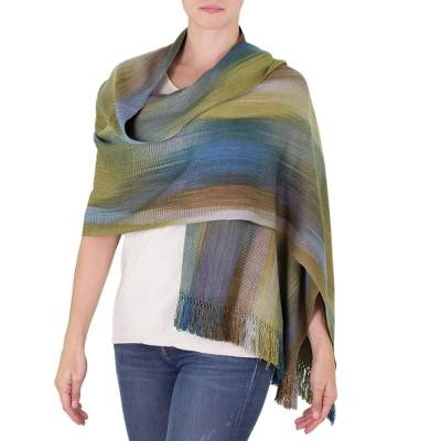 Rayon chenille shawl, 'Ocean Muse' - Handloomed Women's Bamboo fibre Patterned Shawl