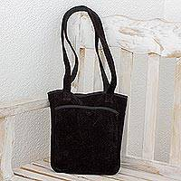 Bamboo chenille and cotton shoulder bag, 'Midnight Forest' - Central American Bamboo Chenille Purse