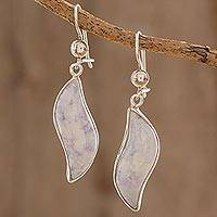 Lilac jade dangle earrings, 'Floating in the Breeze' - Collectible Sterling Silver Dangle Jade Earrings
