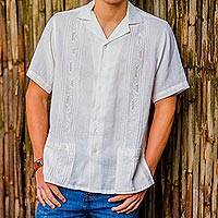 Men's cotton guayabera shirt, 'White Ivy' - Hand Made Cotton Men's Guayabera Shirt