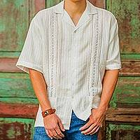 Men's cotton guayabera shirt, 'Metapan Style'