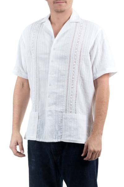 Men's cotton guayabera shirt, 'Metapan Style' - Men's Unique Cotton Shirt from Central America