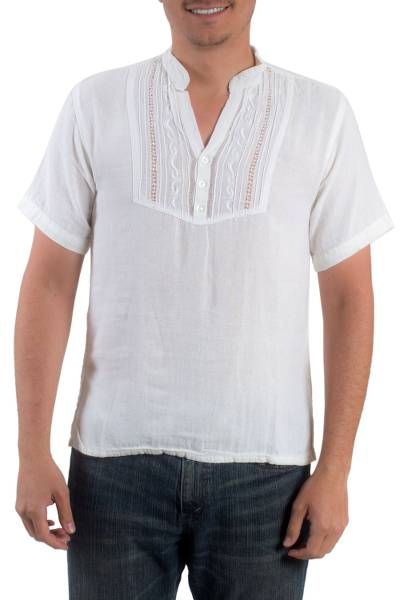 Men's cotton tunic, 'Soyapango Style' - Men's Henley Cotton Tunic from El Salvador