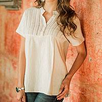 Women's cotton tunic, 'Quiet Sand' - Women's Cotton Embroidered Tunic Top