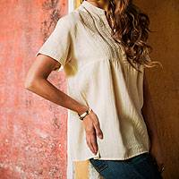 Women's cotton tunic, 'Daisies in Cream' - Ivory Cotton Floral Embroidered Top