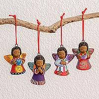 Ceramic ornaments, 'Angels of the Elements' (set of 4)