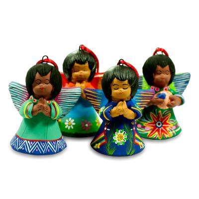 Ceramic ornaments, 'Angels of the Forest' (set of 4) - Ceramic ornaments (Set of 4)