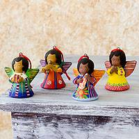 Ceramic ornaments, 'Angels of Time' (set of 4) - Ceramic ornaments (Set of 4)