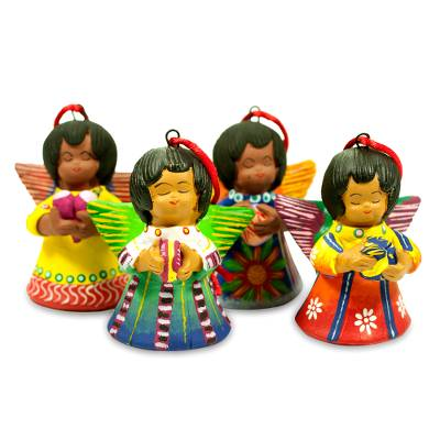 Ceramic ornaments, 'Angels of Time' (set of 4) - Ceramic ornaments (Set of 4)