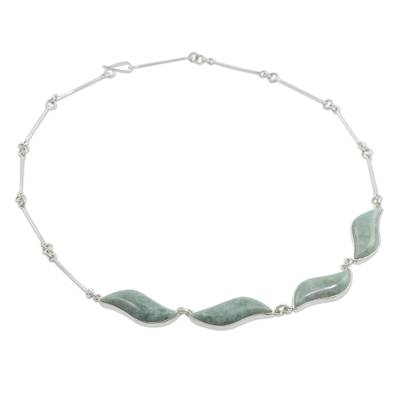 Jade pendant necklace, 'Floating in the Breeze' - Fair Trade Sterling Silver Pendant Jade Necklace