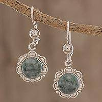 Jade dangle earrings, 'Green Forest Princess' - Handcrafted Jade and Sterling Silver Earrings
