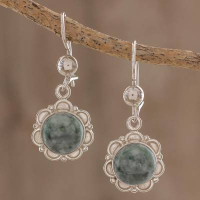 Jade dangle earrings, 'Green Forest Princess' - Fair Trade Floral Sterling Silver Dangle Jade Earrings
