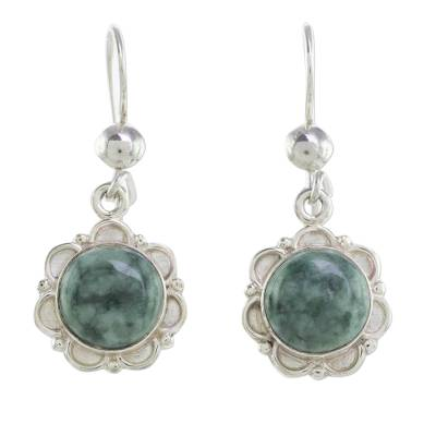 Jade dangle earrings, 'Green Forest Princess' - Fair Trade Floral Sterling Silver Dangle Jade Earrings