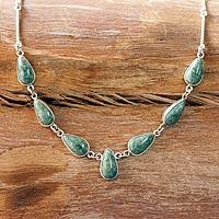 Jade pendant necklace, 'Pale Green Tears' - Handcrafted Modern Sterling Silver Pendant Jade Necklace