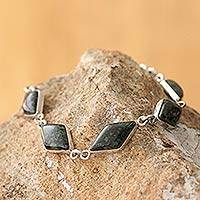 Jade link bracelet, 'Dark Forest Diamonds' - Jade link bracelet