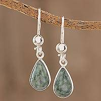 Jade dangle earrings, 'Pale Green Tears'