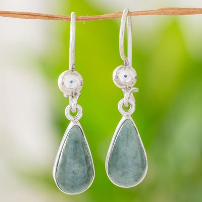 Jade dangle earrings, 'Pale Green Tears' - Fair Trade Sterling Silver Dangle Jade Earrings