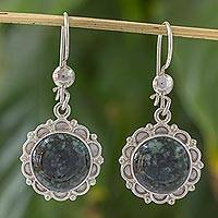 Jade dangle earrings, 'Dark Forest Princess' - Jade dangle earrings