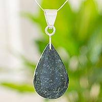 Jade pendant necklace, 'Forest Tears' - Jade pendant necklace