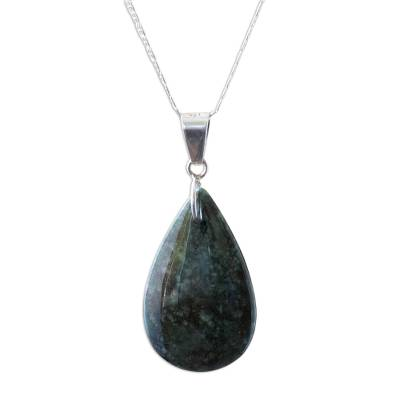 Jade pendant necklace, 'Dark Forest Tears' - Jade pendant necklace