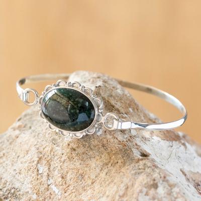 Jade bangle bracelet, 'Green Forest Princess' - Hand Made Floral Sterling Silver Bangle Jade Bracelet