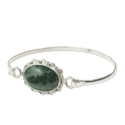 Hand Made Floral Sterling Silver Bangle Jade Bracelet