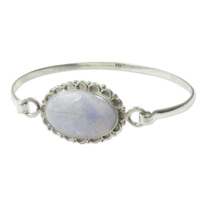 Jade bangle bracelet, 'Lilac Forest Princess' - Jade bangle bracelet