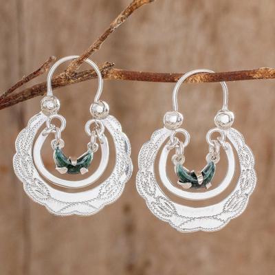 Jade hoop earrings, 'Totonicapan Wreaths' - Jade hoop earrings