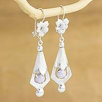 Lilac jade flower earrings, 'Quetzaltenango Blossoms' - Lilac jade flower earrings