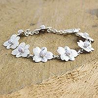 Lilac jade flower bracelet, 'Quetzaltenango Blossoms'