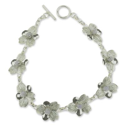 Lilac jade flower bracelet, 'Quetzaltenango Blossoms' - Lilac jade flower bracelet