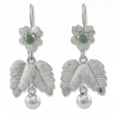 Jade flower earrings, 'Coban Bloom' - Jade flower earrings